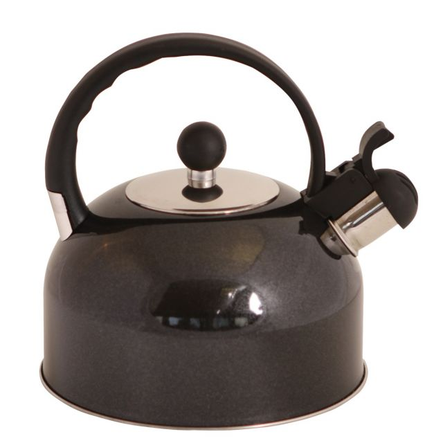 Quest 2.2L Black Stainless Steel Whistling Kettle