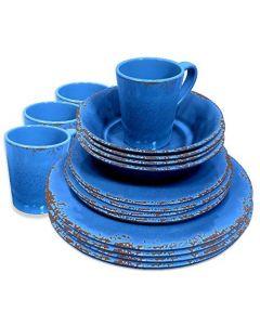 Crusader Rustic Melamine Set 16 Piece Azure Blue
